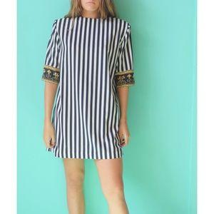 Vintage striped 1990s dress navy blue stripes